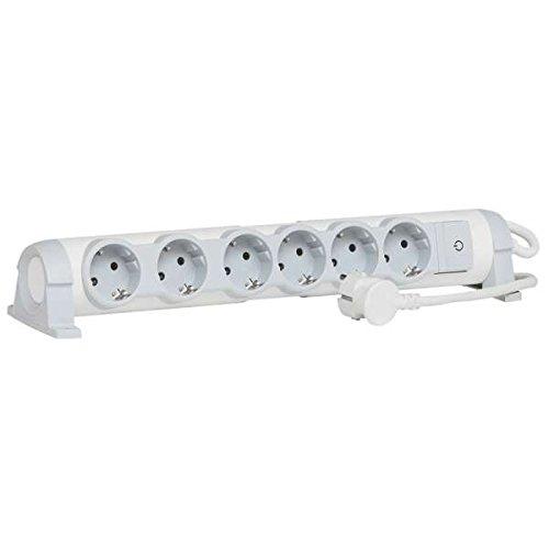 Legrand, 694636 Bases Múltiples Confort - Regleta con 6 enchufes, regleta enchufes con interruptor, cable de 1,5mts, gama \'Confort\', color blanco y gris, 6 tomas + interruptor, soporte giratorio