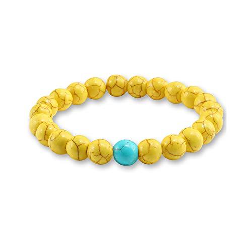 Armband aus Glasperlen, Trendy Yellow Natural Stone Beads Charm Bracelets & Bangles for Women Round Beaded Strand Bracelet Men Jewelry Pulseira Feminina Yellow Blue -