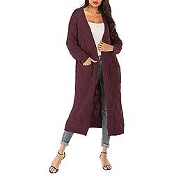 JYJM_Femmes Long Cardigans en Tricot Veste Manches Longues Pull Casual Printemps Automne Outwear irregulier Veste Ouvert Poches(Rouge,S)