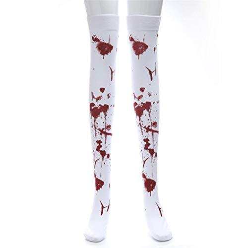 Halloween Kostüm Socken Rovinci Funky Blutige Strumpfhose Strümpfe Geschenk Neuheit Overknees Horror Mode Sport Casual Knie Hohe Socken Stockings Party Cosplay für Männer Damen Kinder Unisex (Weiß 04)
