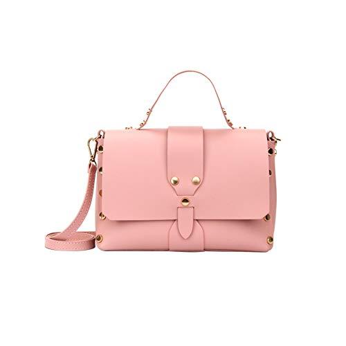 Frauen Handtaschen Stilvolle Leder-Umhängetasche mit Nieten Dekoration Fest Farbe Tragetasche Umhängetasche Messenger Bags für Damen Rosa