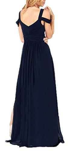 La Vogue Élégante Robe Empire Longue Fluide Décolleté Dos Nu Fente Soirée Bleu Marine