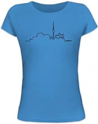 Shirtstreet24, Skyline Berlin, Städte Berlin City Dickes B Lady / Girlie T-Shirt Fun Shirt Funshirt, Größe: S,blue lagoon