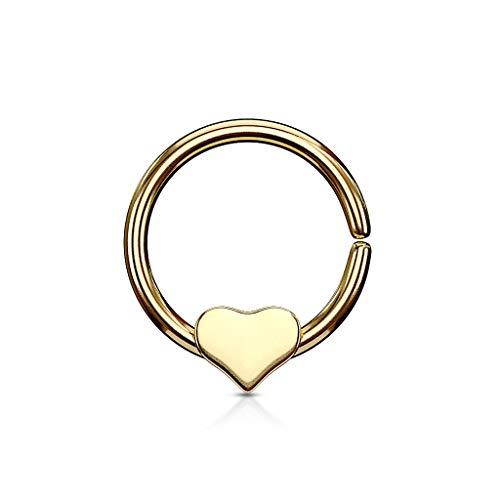eeddoo goldenes Septum-Piercing Herz biegbar/Flexibel - Gold - NASENRING aus Edelstahl - NASENPIERCING Septumschmuck Nose für Frauen/Damen Heart Love