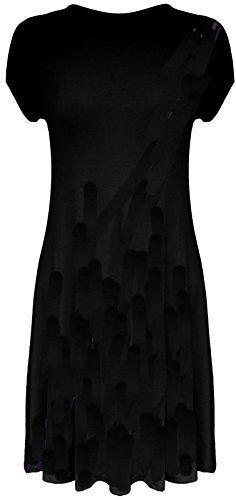 Mesdames Midi à capuchon robe Swing à manches courtes A-Line Patineuse évasée Thé Uni Noir