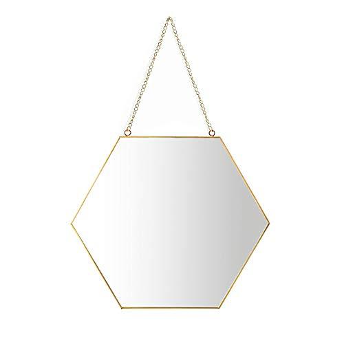 Aifusi 26x30cm Sechseck Spiegel Wandspiege, handgefertigter Badspiegel Facettenspiegel Vintage Dekoration, Messingende mit hängender Kette [mittlere Größe]