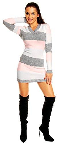 Zeta Ville - Vestito maglia a righe - Pullover lungo aderente - Donna 405z Bambino Rosa