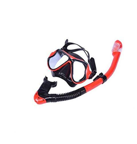 ZXGA Schutzbrillen Die Trockenen Schnorchel Schwimmen Erwachsene Schwimmen Maske Großen Rahmen HD Anti-Fog Und Wasserdicht,Red (Schwimmen-schutzbrillen Ozean)