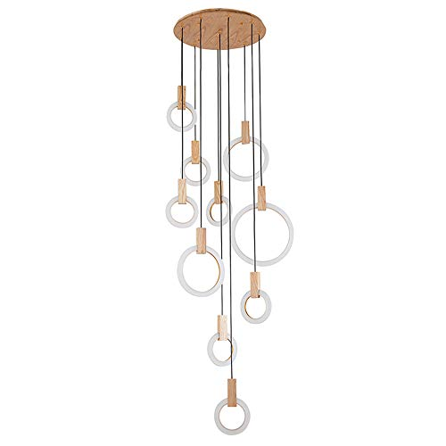 Moderne LED Pendelleuchte Kreativer Design-Ring Kronleuchter Elegante Hängeleuchte 136W Pendellampe Hängelampe Treppenleuchte Aus Holz Und Acryl Höheverstellbar (Warmweiß, 10-Flammig) [Energieklasse A++]