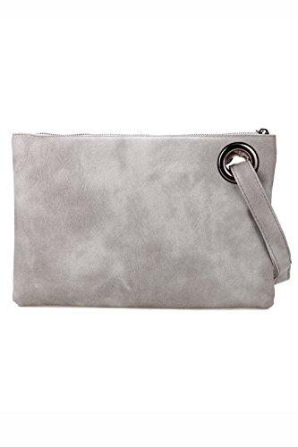 Pochette-All4you moda donna solida pochette borsa in pelle sintetica busta borsa frizione (rosso) Grigio