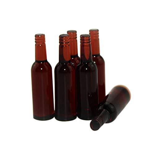 Ruby569y Puppenhaus-Zubehör für Heimwerker, 6 Stück, Miniatur-Bierflasche, Esszimmer, Getränke, Simulation, Küchenspielzeug, Geschenk, Grün braun (Die Größe Der Familie Grüner Tee)