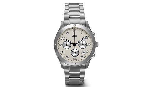 Original Audi Damen Chronograph Uhr Armbanduhr Edelstahl silber