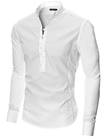 MODERNO Chemise Casual Homme Slim Fit Manches Longues Col Mao (MOD1431) Blanc EU L