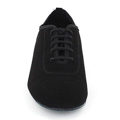 Scarpe da ballo-Personalizzabile-Da donna-Balli latino-americani / Sneakers da danza moderna / Moderno / Salsa-Piatto-Finta pelle-Nero Black