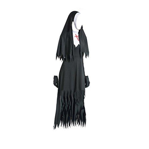 Topker Erwachsene Frauen Halloween-Kostüme Nonne Kostüm mit Kapuze Sexy Nonne Kostüm-Endstück-Kleid mit schwarzen S-XL