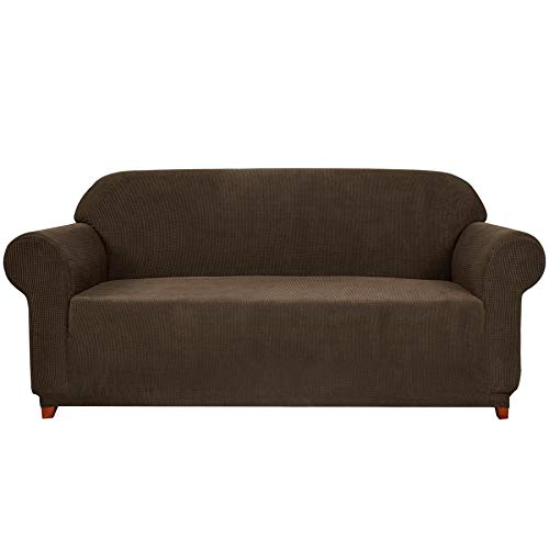 1 Subrtex Elastic Polyester Sofa Piece Cover Seat Cover Domestic Sofa Liner (3 Squares, Coffee)