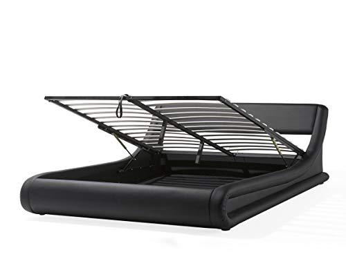 Supply24 Designer Leder Bett Alicante mit Bettkasten + Lattenrahmen Lattenrost Polsterbett wellenförmiges Lederbett schwarz modern gewelltes Bett Doppelbett mit Stauraum günstig (160x200 cm) -