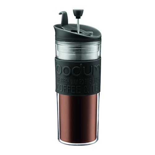 Bodum 11100–01Travel Press Caffettiera a pistone, 0.45l tazza da viaggio plastica 8x 8x 21cm, colore: Nero