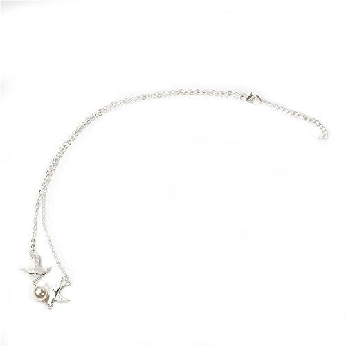 Blue Vessel Fliegen Paar Turteltauben Einfacher Elegante Perlenkette Kurzer Kette