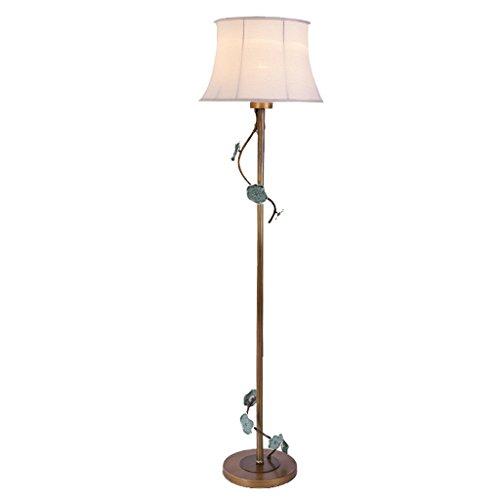 Klassische vertikale Stehlampe Vintage Keramik geschnitzt Wohnzimmer Stehleuchte Antik Stoff Kunst Schlafzimmer Nacht Metall Rampenlicht (Bronze Farbe + weiß) -