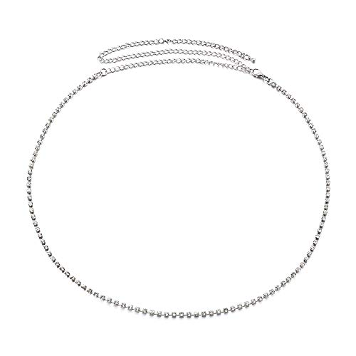 Kristallbauchkette Sexy Justierbare Taille Kettenband Körper-Bauch-Kette Mit Vier Drainage Drill Für Mädchen ()