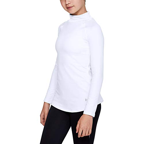 Under Armour Mädchen ColdGear Mock Langarmshirt, White/Black (100), YSM