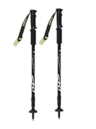 Baisde Wandern Stick Outdoor Klettern Stick Old Man Krücken Straight Handle 3 Abschnitt Einstellbare Walking Stick Trekking Pole Ski Alpenstock, black, 2PC