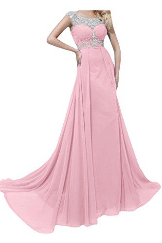 Ivydressing Damen Strass Rueckenfrei A-Linie Chiffon Lang Festkleid Promkleid Abendkleider Rosa