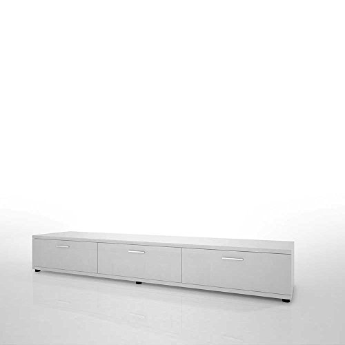 Hochglanz Wohnwand in Weiß Schwarz Beleuchtung (4-teilig) Mit weißer Beleuchtung Pharao24 - 5
