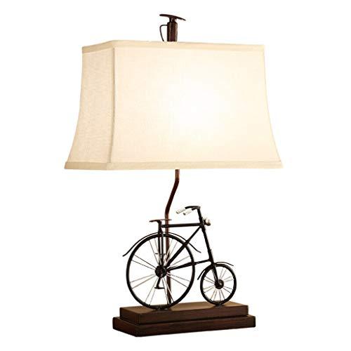 &Tischlampe Tischlampe Wohnzimmer Dekor Schlafzimmer Nachttischlampe Schreibtisch Nachtlicht Stoff Schatten Retro Bike Dekoration Nachttischlampe -