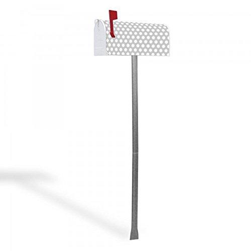 banjado – US Mailbox 17x22x51cm amerikanischer Briefkasten mit silber lackiertem Ständer und Motiv Punkte Grau - 2