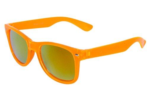 Nerdbrille Sonnenbrille Nerd Atzen Brille Pilotenbrille Orange Transparent Feuer