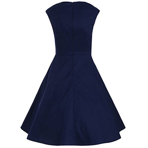 iShine Retro Kleid Damen Knielang 50s Vintage Rockabilly Kleid Ärmellos Faltenrock Partykleid Cocktailkleid Blau