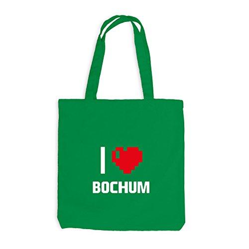 Jutebeutel - I Love Bochum - Deutschland Reisen Herz Heart Pixel Kellygrün
