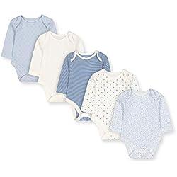 Mothercare G Pretty 5pk Bodysuits LS Body, (Pale Blue 23), 18-24 Months (Size:92) para Bebés