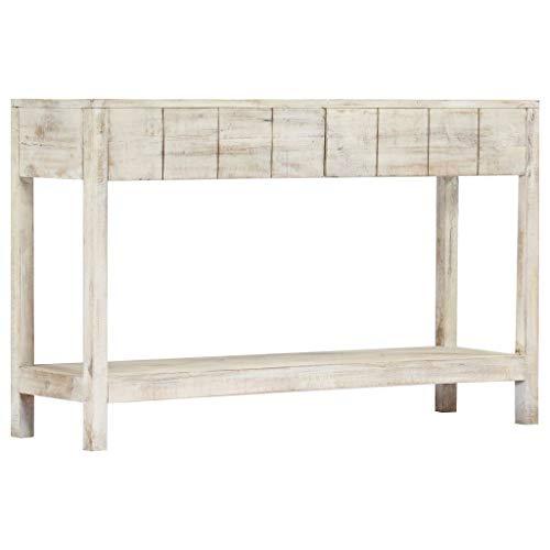 vidaXL Mangoholz Massiv Konsolentisch mit 2 Schubladen Konsole Beistelltisch Sideboard Telefontisch Wandtisch Ablagetisch Flurtisch 120x35x75cm