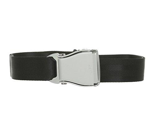 Airline Seatbelt Gürtel schwarz/silber - Flugzeuggürtel von Flying-Belt (Silber Für Gürtel Männer)