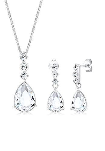 Elli Premium Damen Schmuck Schmuckset Halskette + Ohrringe Klassisch Basic Elegant Silber 925 Swarovski Kristalle Silber Länge 45 cm