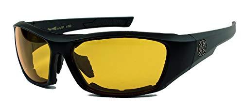 CHOPPERS® Sonnenbrille Biker Brille matt schwarz Iron Cross Night Driver oder Klarglas C26 (Nightdriver (gelbe Gläser))