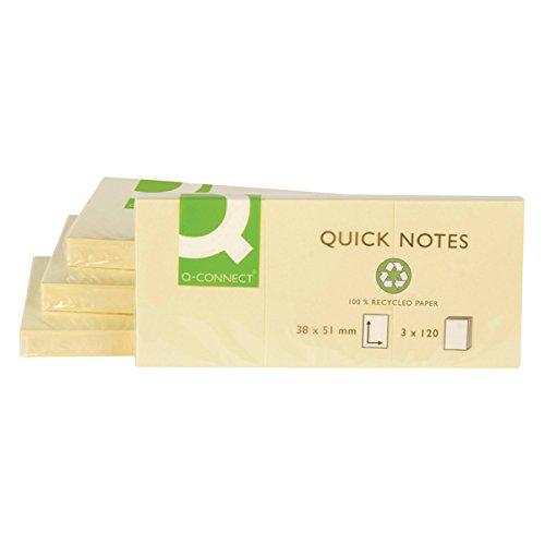 Q-Connect, foglietti adesivi in carta riciclata, riutilizzabili, 38x 51mm, gialli (confezione da 12)