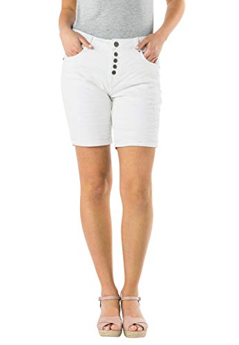 Eight2Nine Damen Bermuda Shorts I Kurze Hose Stretch Twill in 3 Farben White S