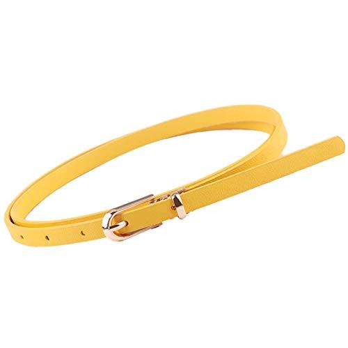 Cinturón fino amarillo para mujeres. Hebilla de aleación