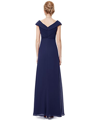 Ever Pretty Damen Sexy V-Ausschnitt Lang Chiffon Party Abendkleid 08457 Marineblau