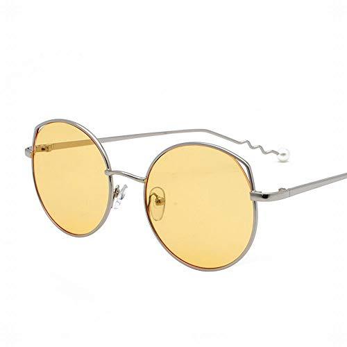 Polarisierte Sonnenbrille mit UV-Schutz Mode Damen Sonnenbrille Gebogene Arme Schwanz Perlen Dekorative Sonnenbrille Mit Flachem Objektiv Superleichtes Rahmen-Fischen, das Golf fährt ( Farbe : Gelb )