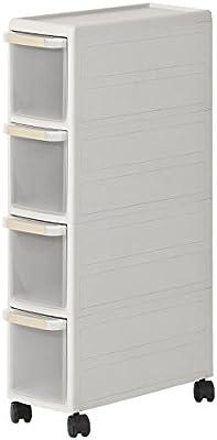 SoBuy® Estantería de cocina, estantería de baño con ruedas, estantería para nichos - 4 cajones, FRG41-HG, ES