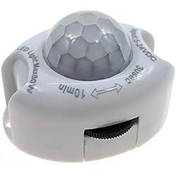Ganquer DC5-24V Encendido y Apagado Automático Interruptor Temporizador Movimiento Hogar Luz LED Uniad Sensor de Movimiento Pir - Blanco, Free Size