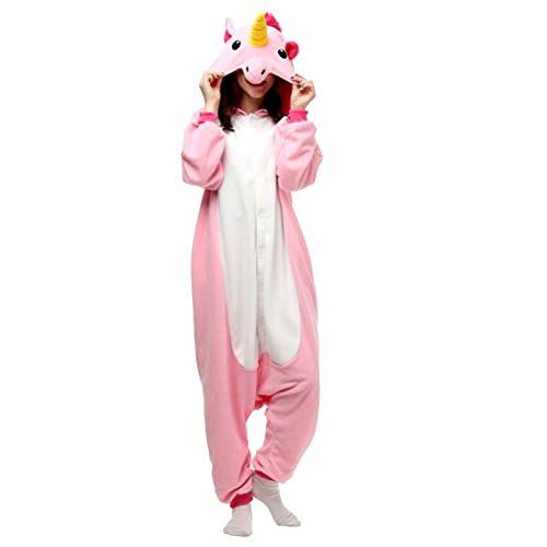 Unisex Erwachsene Kinder Pyjamas Cosplay Nachtwäsche Tier Onesie Kostüme Schlafanzug Tieroutfit tierkostüme Jumpsuit (Erwachsene M Für Hohe 156-165CM, rosa einhorn)