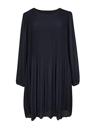 Kris Tertio Kleider Basic Casual Plisseekleid Langarm innen verdoppelt - Damen (S, Marine Blau)
