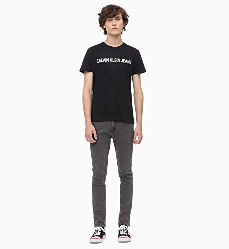 Calvin Klein Jeans Herren CORE INSTITUTIONAL Logo Slim Tee T-Shirt, Schwarz (Ck Black 099), X-Large (Herstellergröße: XL) -