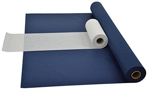 Fachhandel für Vliesstoffe Sensalux Kombi-Set 1 Tischdeckenrolle 1m x 25m + Tischläufer 30cm (Farbe nach Wahl) Rolle blau Tischläufer weiß